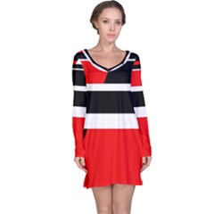 Red, white and black abstraction Long Sleeve Nightdress