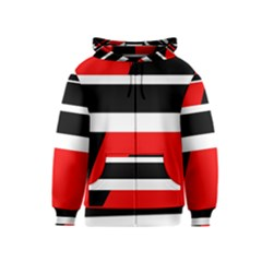 Red, white and black abstraction Kids  Zipper Hoodie