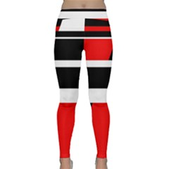 Red, white and black abstraction Yoga Leggings