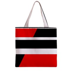 Red, white and black abstraction Zipper Grocery Tote Bag
