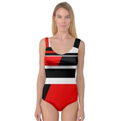 Red, white and black abstraction Princess Tank Leotard