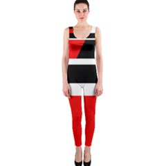 Red, white and black abstraction OnePiece Catsuit