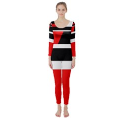 Red, white and black abstraction Long Sleeve Catsuit