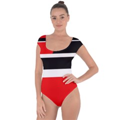 Red, white and black abstraction Short Sleeve Leotard