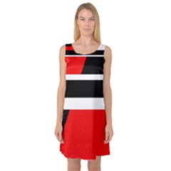 Red, white and black abstraction Sleeveless Satin Nightdress