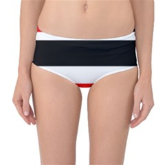 Red, white and black abstraction Mid-Waist Bikini Bottoms