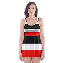 Red, white and black abstraction Skater Dress Swimsuit
