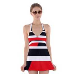 Red, white and black abstraction Halter Swimsuit Dress