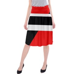 Red, white and black abstraction Midi Beach Skirt