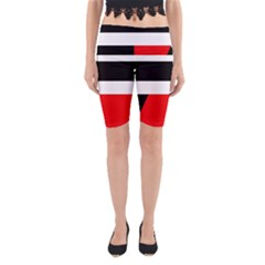 Red, white and black abstraction Yoga Cropped Leggings