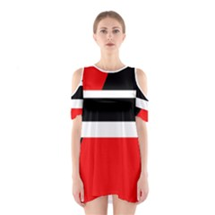 Red, white and black abstraction Cutout Shoulder Dress
