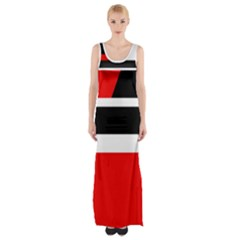Red, white and black abstraction Maxi Thigh Split Dress