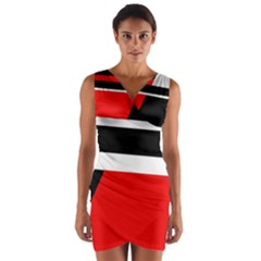 Red, white and black abstraction Wrap Front Bodycon Dress