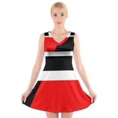 Red, White And Black Abstraction V Neck Sleeveless Skater Dress