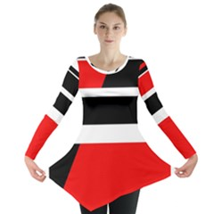 Red, white and black abstraction Long Sleeve Tunic