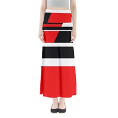 Red, white and black abstraction Maxi Skirts