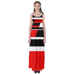 Red, white and black abstraction Empire Waist Maxi Dress