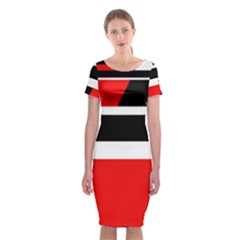 Red, white and black abstraction Classic Short Sleeve Midi Dress