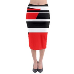 Red, white and black abstraction Midi Pencil Skirt