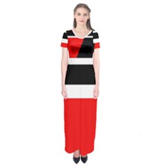 Red, white and black abstraction Short Sleeve Maxi Dress