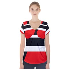 Red, white and black abstraction Short Sleeve Front Detail Top