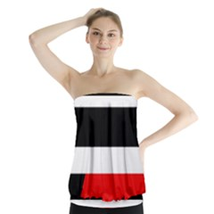 Red, white and black abstraction Strapless Top