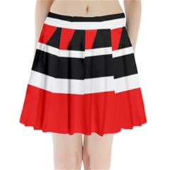 Red, white and black abstraction Pleated Mini Mesh Skirt