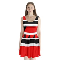 Red, white and black abstraction Split Back Mini Dress