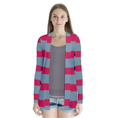 Red Blue Shapes Pattern  Women s Open Front Pockets Cardigan