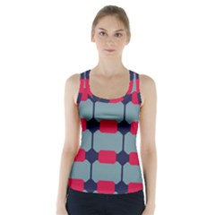 Red Blue Shapes Pattern         Racer Back Sports Top