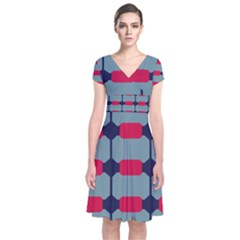 Red Blue Shapes Pattern                                                    Short Sleeve Front Wrap Dress