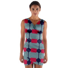 Red blue shapes pattern                      Wrap Front Bodycon Dress