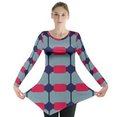 Red blue shapes pattern                                                                                     Long Sleeve Tunic