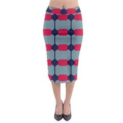 Red Blue Shapes Pattern                                                                                       Midi Pencil Skirt
