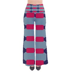 Red blue shapes pattern                                                                    Women s Chic Palazzo Pants