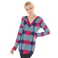 Red Blue Shapes Pattern                                                                                      Women s Tie Up Tee