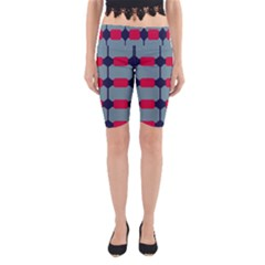 Red Blue Shapes Pattern                                                                                     Yoga Cropped Leggings