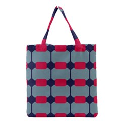 Red blue shapes pattern                                                                                     Grocery Tote Bag