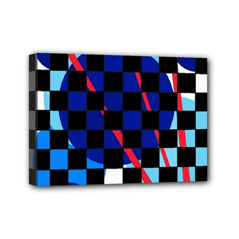 Blue abstraction Mini Canvas 7  x 5