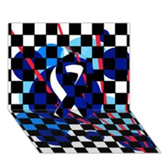 Blue Abstraction Ribbon 3d Greeting Card (7x5)