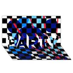 Blue abstraction PARTY 3D Greeting Card (8x4)