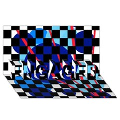 Blue abstraction ENGAGED 3D Greeting Card (8x4)