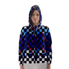 Blue abstraction Hooded Wind Breaker (Women)