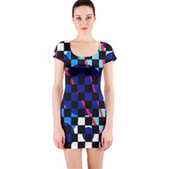 Blue abstraction Short Sleeve Bodycon Dress