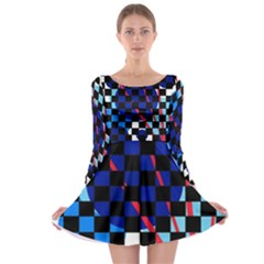 Blue abstraction Long Sleeve Skater Dress