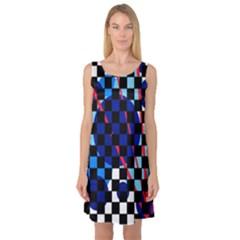 Blue abstraction Sleeveless Satin Nightdress