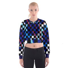 Blue abstraction Women s Cropped Sweatshirt