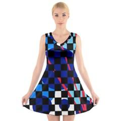Blue Abstraction V Neck Sleeveless Skater Dress