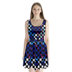 Blue Abstraction Split Back Mini Dress