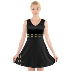 Elegant design V-Neck Sleeveless Skater Dress